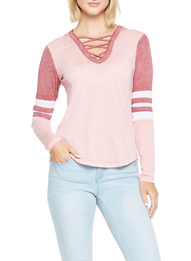 Caged Neck Hooded Top,WINE,large