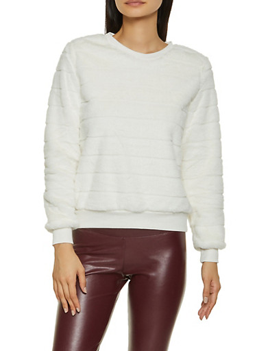 Faux Fur Crew Neck Sweatshirt,IVORY,large
