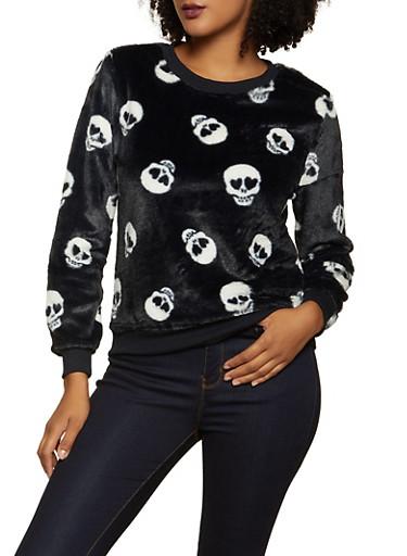 Faux Fur Skull Print Sweatshirt,BLACK/WHITE,large