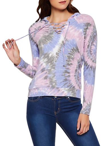 Tie Dye Brushed Knit Hooded Sweatshirt,MULTI COLOR,large