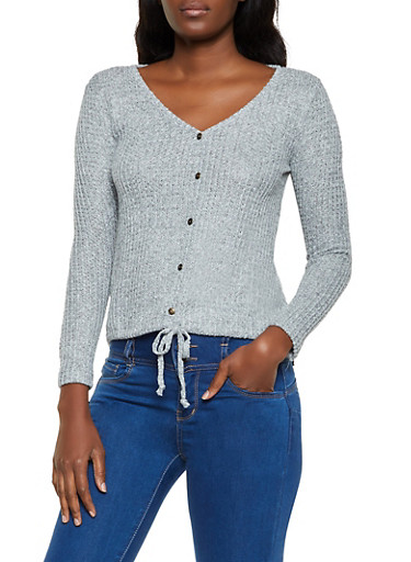 Waffle Knit Button Detail Top,HEATHER,large