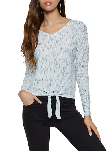 Marled Tie Front Sweater,WHITE,large