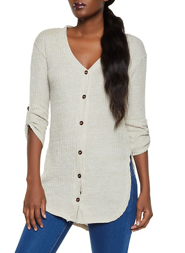 Waffle Knit Button Front Tunic Top,OATMEAL,large