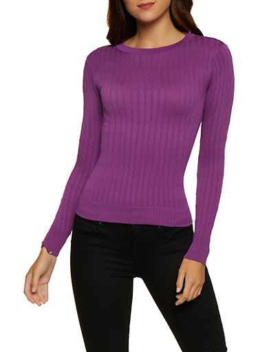 Solid Cable Knit Sweater,PURPLE,large