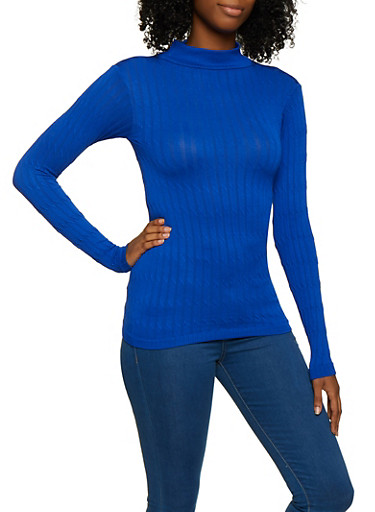 Long Sleeve Cable Knit Sweater,RYL BLUE,large