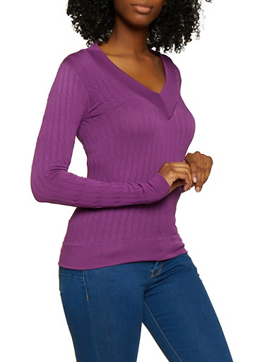 Cable Knit V Neck Sweater,PURPLE,large