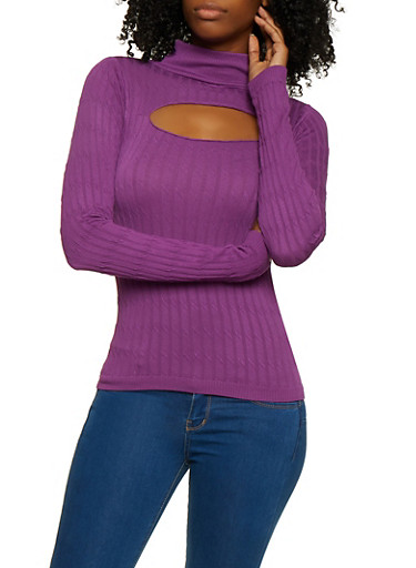 Cut Out Cable Knit Mock Neck Sweater,PURPLE,large
