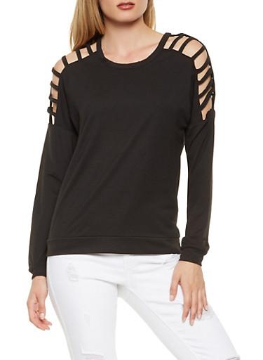 Caged Sleeve Sweatshirt,BLACK,large