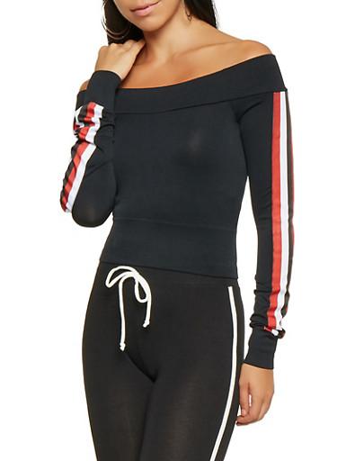 Striped Ribbon Detail Off the Shoulder Top,BLACK,large