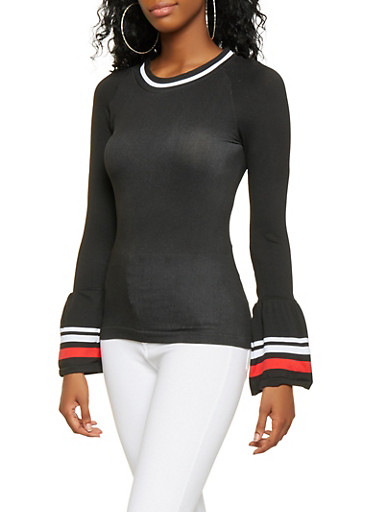Ribbed Knit Trim Bell Sleeve Top,BLACK,large