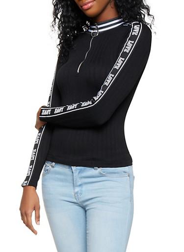 Love Graphic Zip Neck Top,BLACK,large