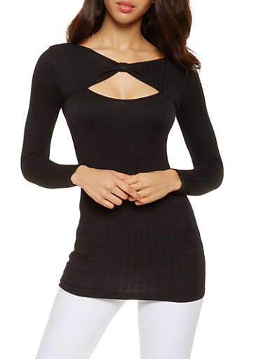 Ribbed Knit Cut Out Tunic Top,BLACK,large
