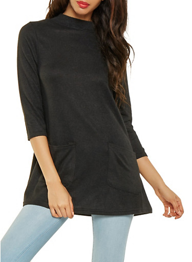 Knit Tunic Top,BLACK,large