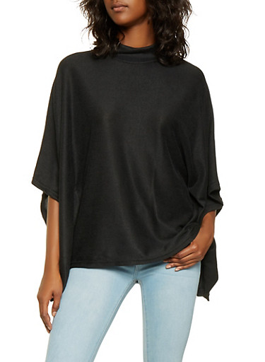 Mock Neck Knit Poncho,BLACK,large