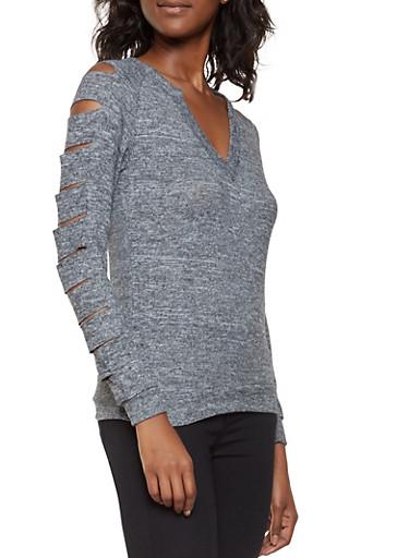 Slashed Sleeve Sweater,CHARCOAL,large