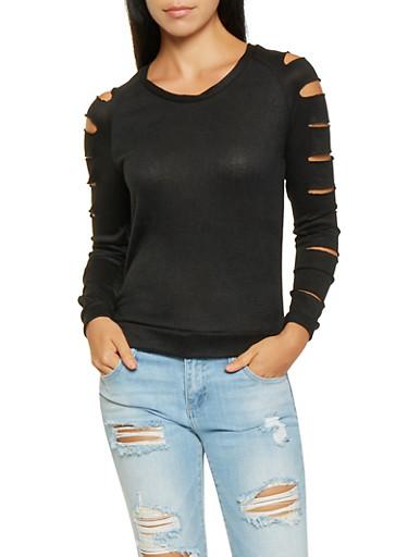 Slashed Sleeve Sweater,BLACK,large