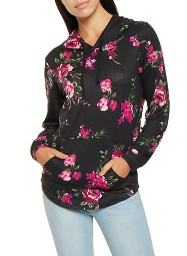 Printed Pullover Hooded Top,BLACK,large