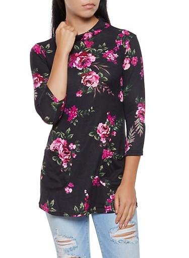 Mock Neck Floral Tunic Top,BLACK,large
