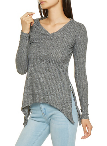 Asymmetrical Rib Knit Sweater,CHARCOAL,large