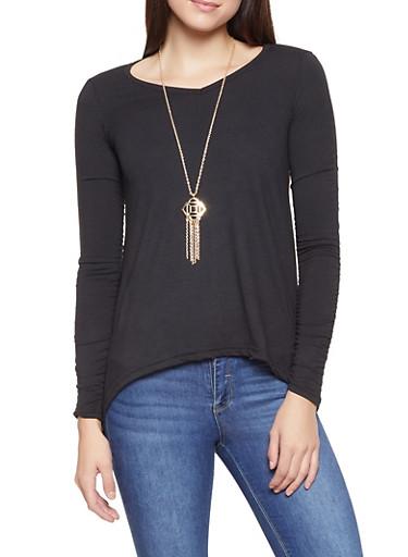 Ruched Sleeve Sharkbite Hem Top with Necklace,BLACK,large