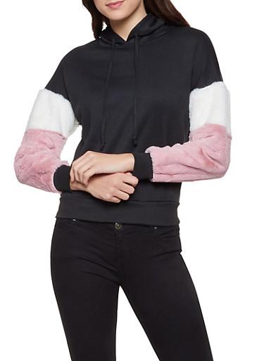 Faux Fur Sleeve Hooded Sweatshirt,BLACK,large