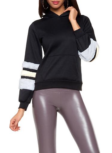 Faux Fur Sleeve Sweatshirt,BLACK,large