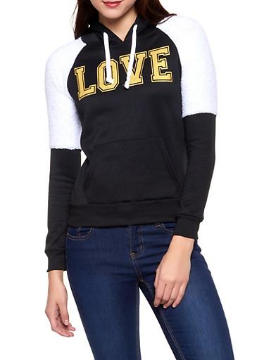 Love Graphic Sherpa Trim Sweatshirt,BLACK,large