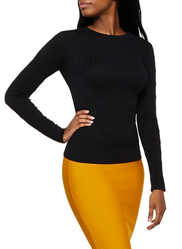 Cable Knit Long Sleeve Top,BLACK,large