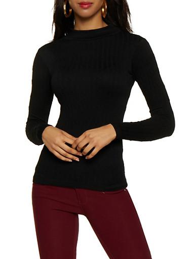 Cable Knit Mock Neck Top,BLACK,large