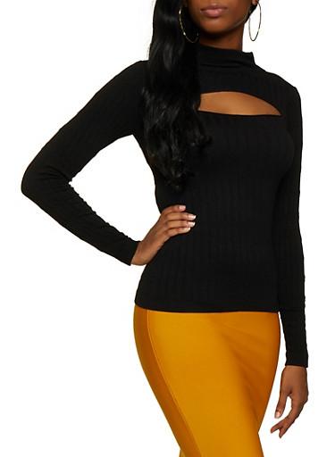 Cut Out Mock Neck Sweater,BLACK,large