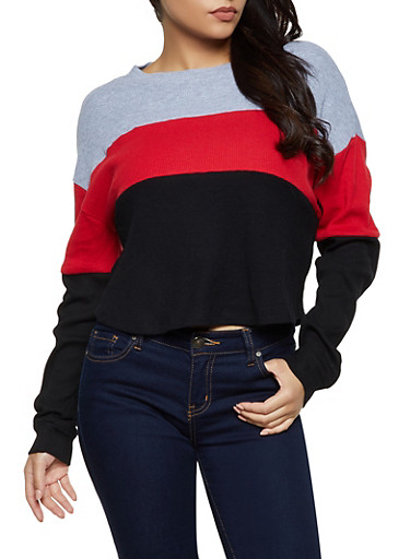 Thermal Color Block Top,HEATHER,large