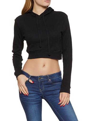 Thermal Hooded Sweatshirt,BLACK,large