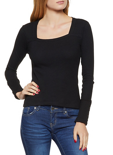 Square Neck Thermal Top,BLACK,large