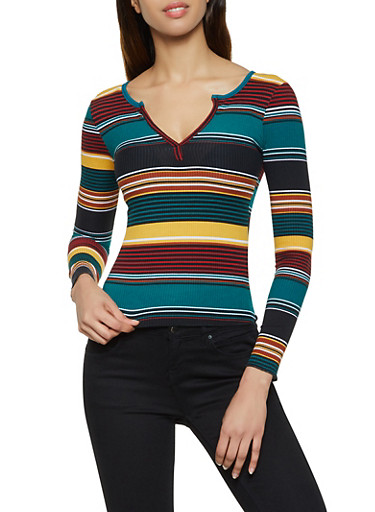 Lettuce Edge Striped Top,GREEN,large