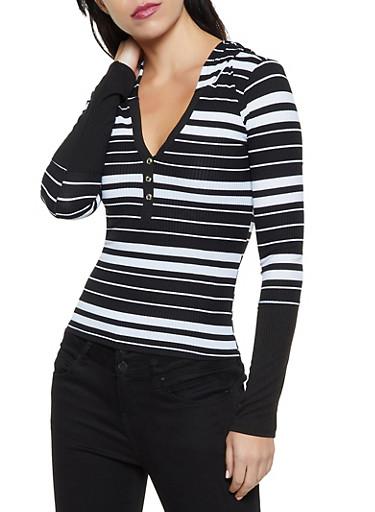 Hooded Rib Knit Striped Top,BLACK/WHITE,large