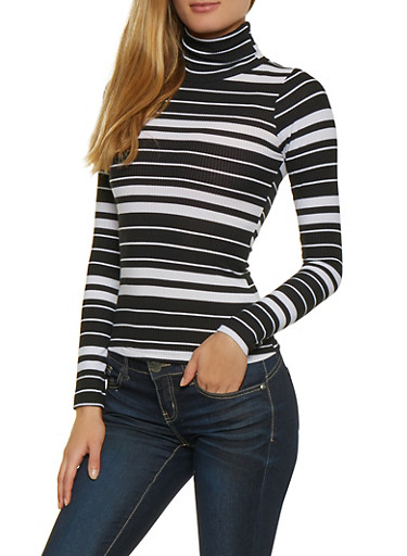 Striped Lightweight Turtleneck Sweater,BLACK/WHITE,large