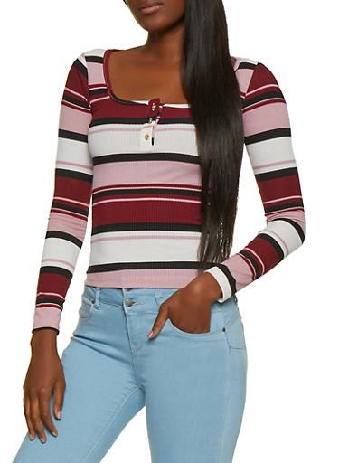 Striped Square Neck Top,BLACK,large