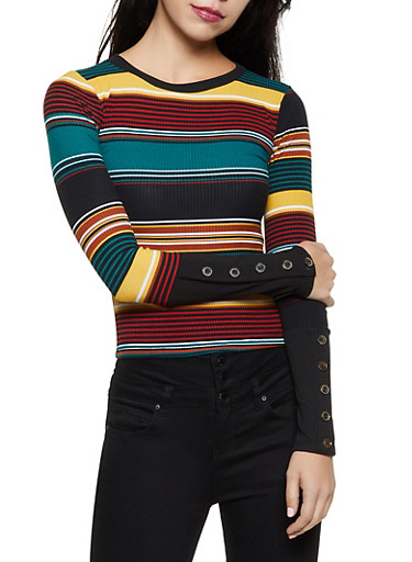 Striped Crew Neck Rib Knit Top,TEAL,large