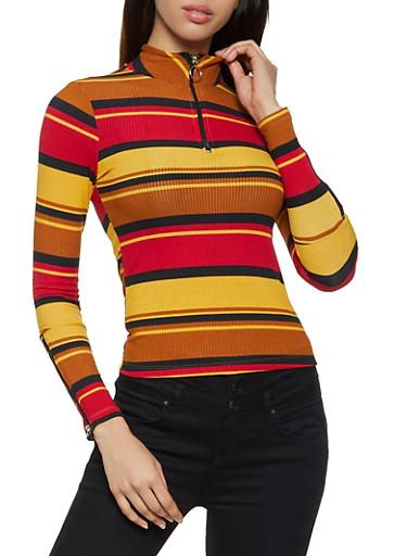 Zipper Detail Striped Top,MUSTARD,large