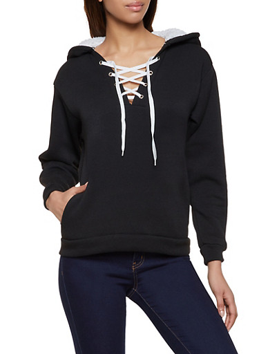 Sherpa Lined Lace Up Sweatshirt,BLACK,large