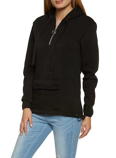 Zip Neck Hooded Sweatshirt,BLACK,large