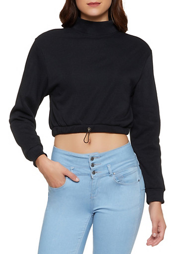 Mock Neck Cropped Fleece Sweatshirt,BLACK,large