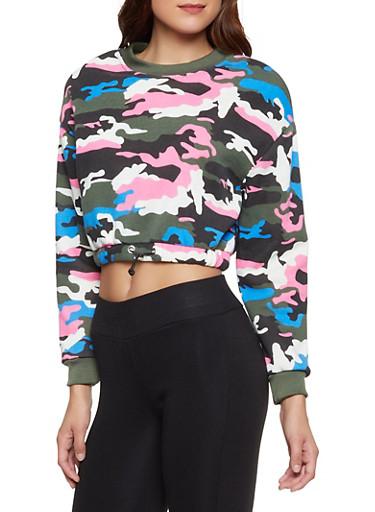 Camo Cropped Fleece Sweatshirt,RYL BLUE,large