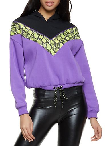 Chevron Snake Print Hooded Sweatshirt,BLACK,large