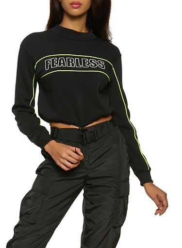 Fearless Cropped Sweatshirt,BLACK,large