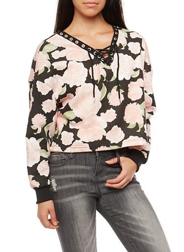 Rose Print Lace Up Cropped Sweatshirt,BLACK,large