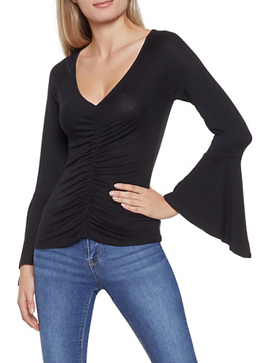Ruched Bell Sleeve Top,BLACK,large