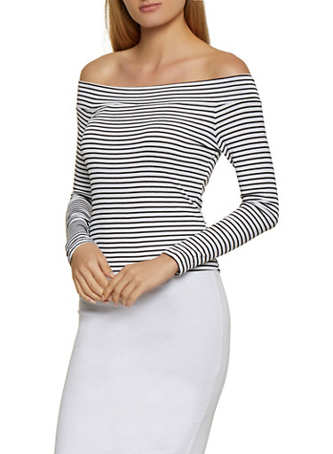Striped Off the Shoulder Rib Knit Top,WHT-BLK,large