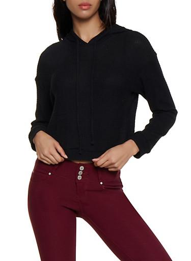 Waffle Knit Hooded Sweater,BLACK,large