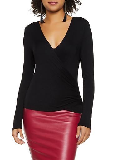 Faux Wrap Long Sleeve Top,BLACK,large